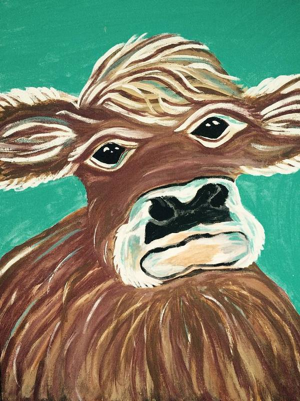 Cow Art Print featuring the painting Sweet Cow by Lindsay Smith
