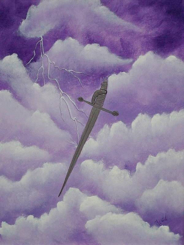 Silver Sword Art Print featuring the painting Sword Of The Spirit by Laurie Kidd