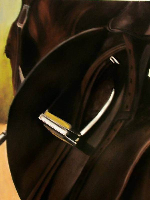 Horse Art Print featuring the painting Tacking Up by Donna Thomas