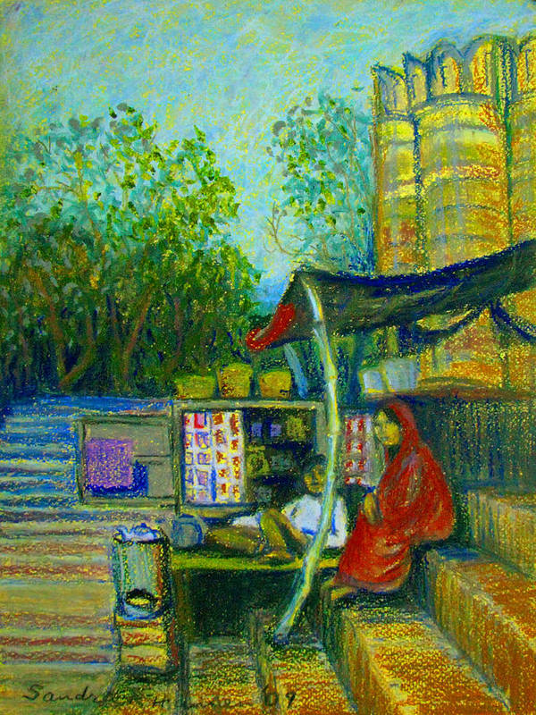 Assi Ghat Art Print featuring the pastel Tea Stall At Assi Ghat In Varanasi by Art Nomad Sandra Hansen