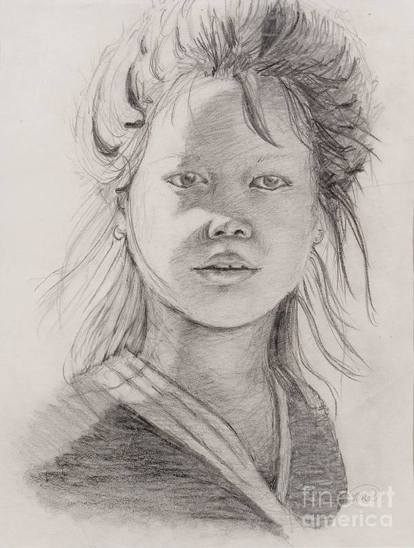 Portrait Art Print featuring the drawing Thai Beauty by Nadine Rippelmeyer