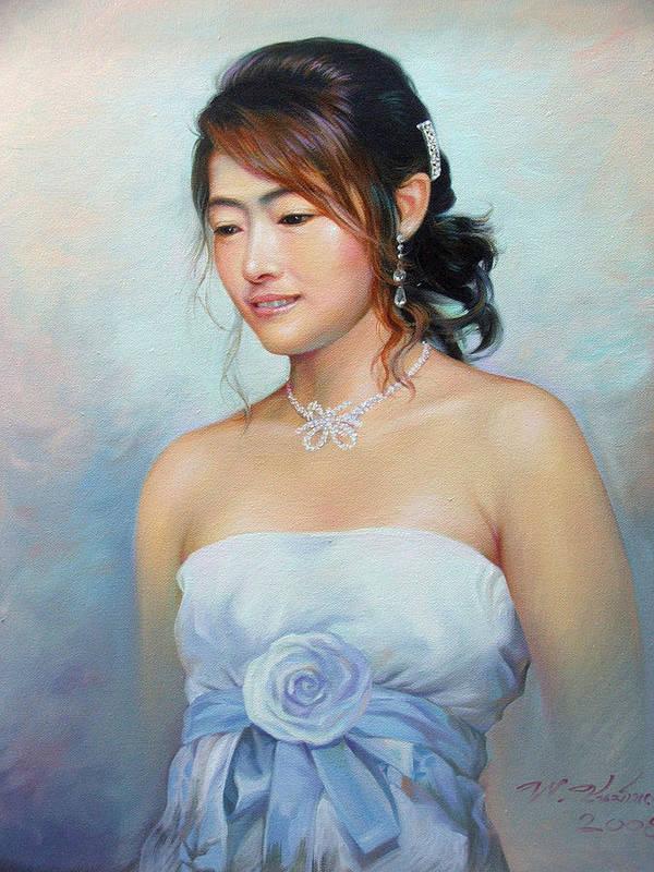 Thai Art Print featuring the painting Thai Woman by Chonkhet Phanwichien