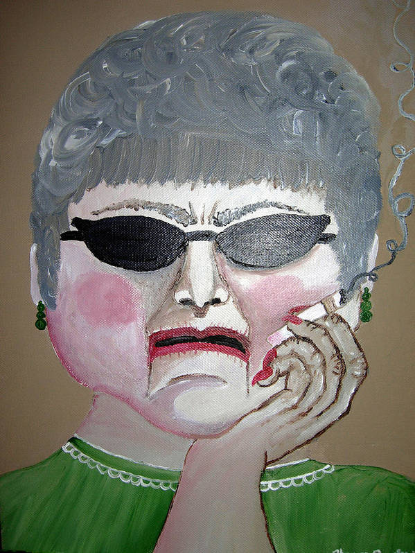 Old Woman Art Print featuring the painting That Woman by Sharon Supplee