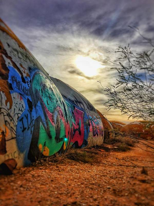 Domes Graffiti Desert Arizona Artwork Casa Grande Rural Town Art Art Print featuring the photograph The Beauty In The Madness by Brandon Stevens