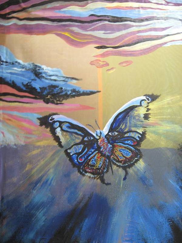 Butterfly Art Print featuring the painting The Butterfly by Theodora Dimitrijevic
