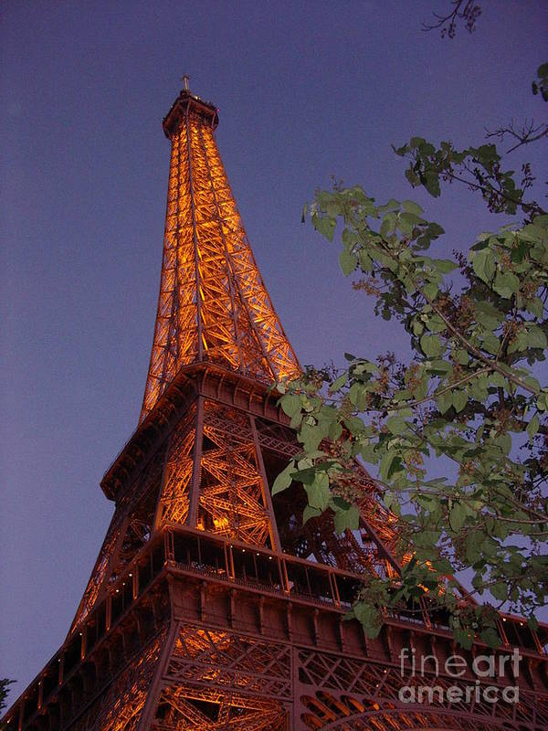 Tower Art Print featuring the photograph The Eiffel Tower Aglow by Nadine Rippelmeyer