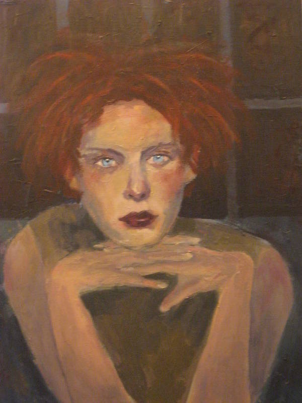 Portrait Art Print featuring the painting The Female Gaze by Connie Freid