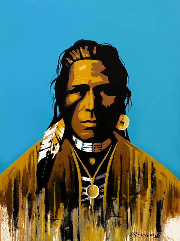 American Indian Portraiture Art Print featuring the painting The First American by Brooke Lyman