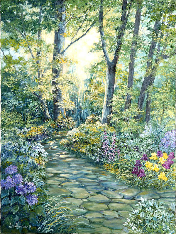 Art Print featuring the painting The Garden Left Side Of Triptych by Lois Mountz