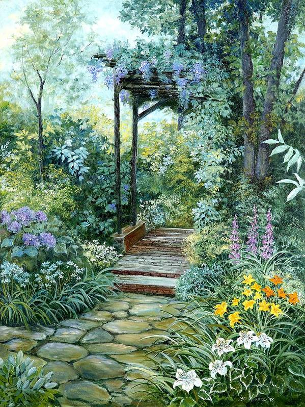 Oil Painting;wisteria;garden Path;lilies;garden;flowers;trellis;trees;stones;pergola;vines; Art Print featuring the painting The Garden Triptych Right Side by Lois Mountz