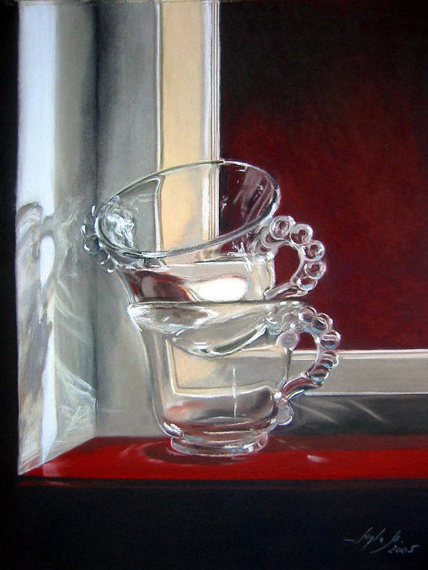 Cups Art Print featuring the painting The Glass Cups by Leyla Munteanu