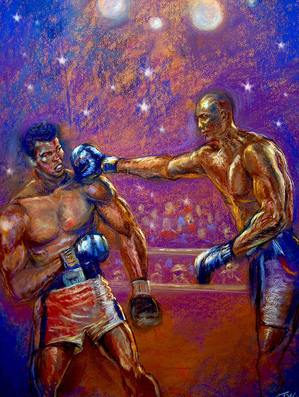 Boxing Art Print featuring the pastel the Greatest Muhammed Ali vs Jack Johnson by Tommy Winn