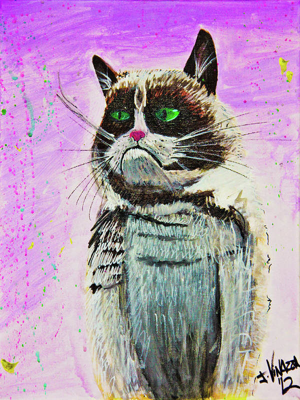 Grumpy Cat Art Print featuring the painting The Grumpy Cat From The Internets by eVol i