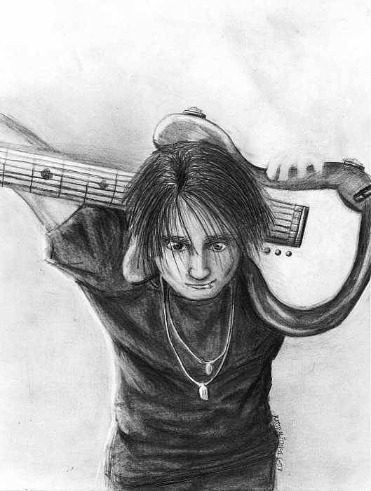 Guitarist Art Print featuring the drawing The Guitarist by Katie Alfonsi