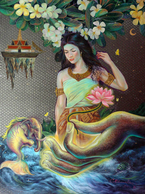 Acrylic Art Print featuring the painting The Light Of Buddhism by Chonkhet Phanwichien