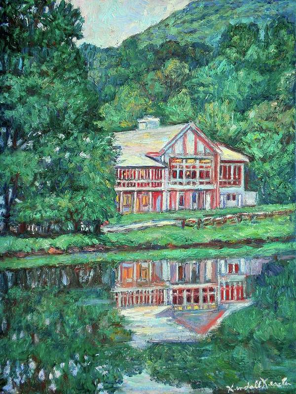 Lodge Paintings Art Print featuring the painting The Lodge At Peaks Of Otter by Kendall Kessler