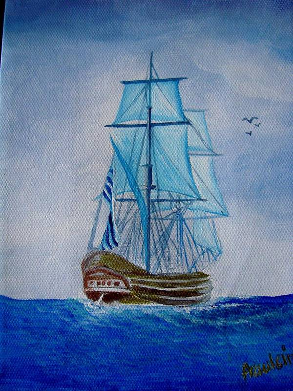 Ship Art Print featuring the painting The Loner by Glory Fraulein Wolfe