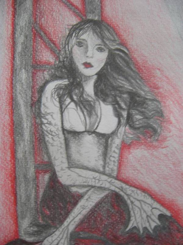 Mermaid Art Print featuring the drawing The Mermaid Second Close Up by Theodora Dimitrijevic