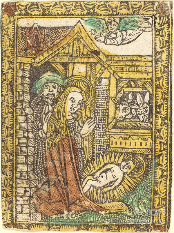 Art Print featuring the drawing The Nativity by German 15th Century