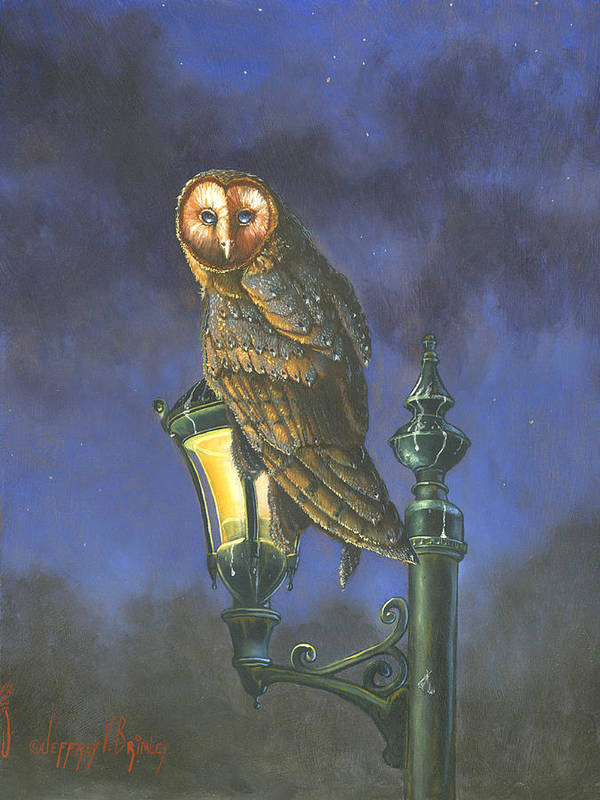 Barn Owl Art Print featuring the painting The Night Watch by Jeff Brimley