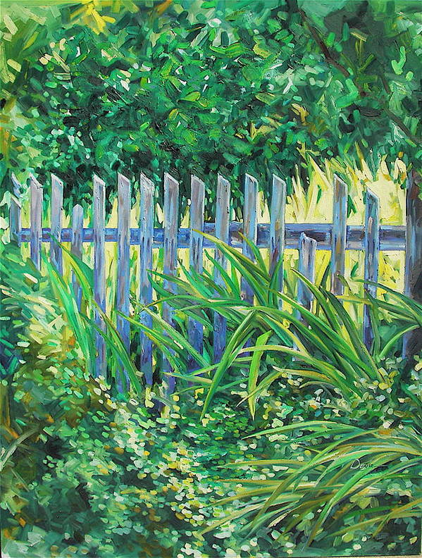 Fence Art Print featuring the painting The Other Side by Karen Doyle