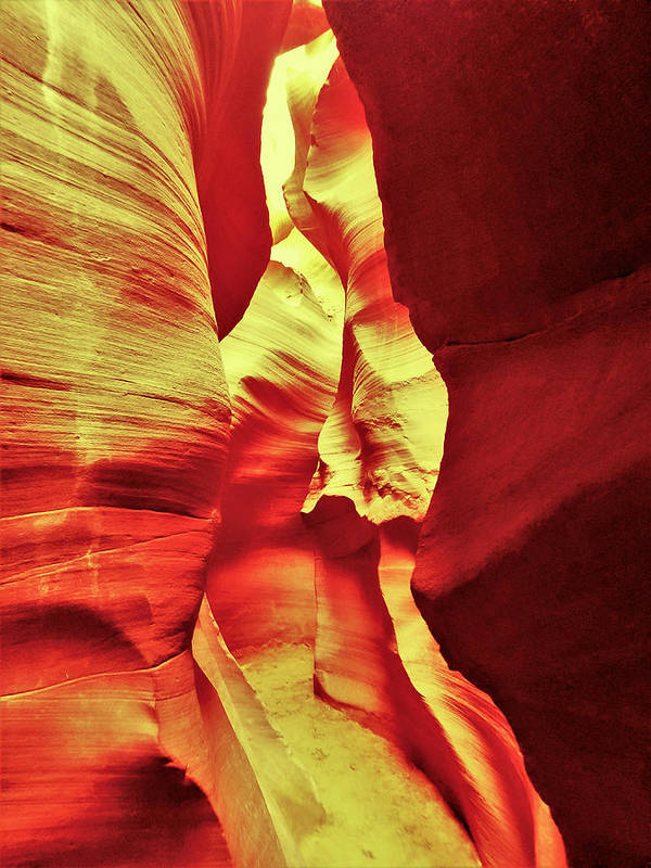 Lower Antelope Canyon Art Print featuring the photograph The Reddish Yellow Path by Gio