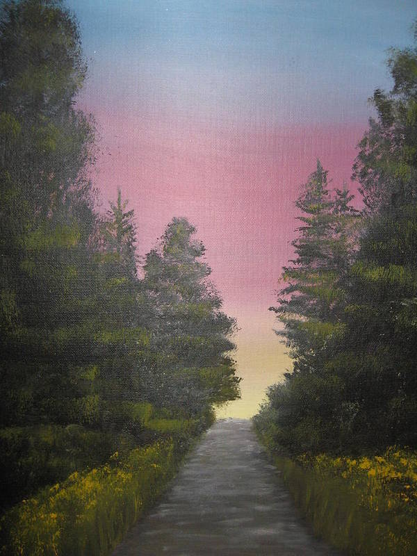 Northwest Landscape Art Print featuring the painting The Straight And Narrow Path by Terri Warner