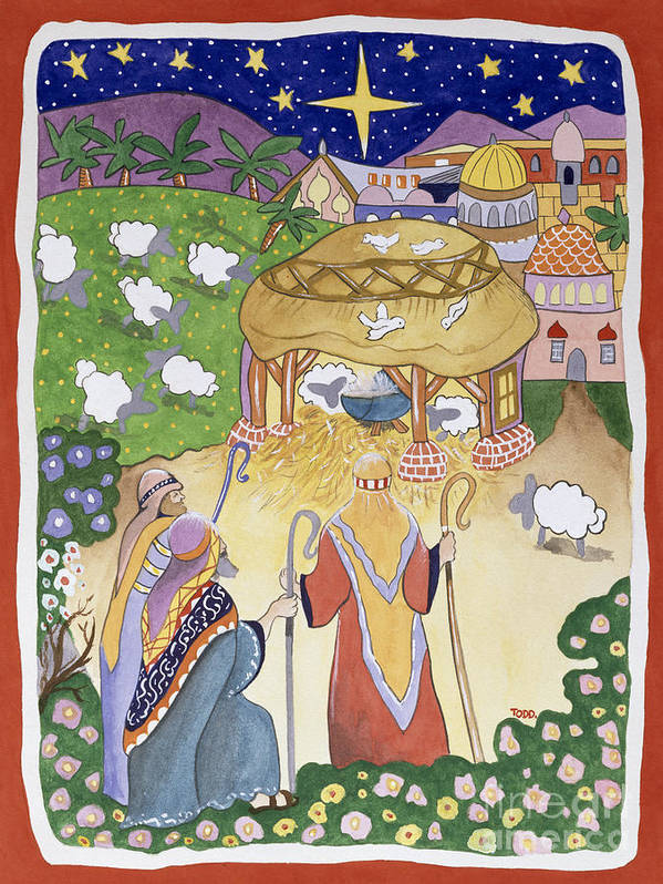 Adoration; Birth Of Jesus Christ; Manger; Bethlehem; Winter; Christmas Card; Flock; Sheep; Shepherd; Crook; Festive; Star; Stable Art Print featuring the painting The Three Shepherds by Tony Todd