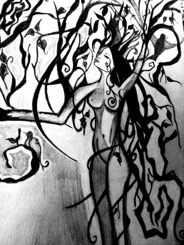 Tree Art Print featuring the drawing The Woman Who Became A Tree by Cat Jackson