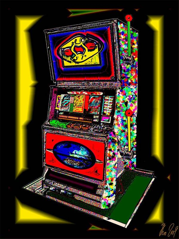 Greed Art Print featuring the digital art the World-Trade-Slot-Machine by Helmut Rottler