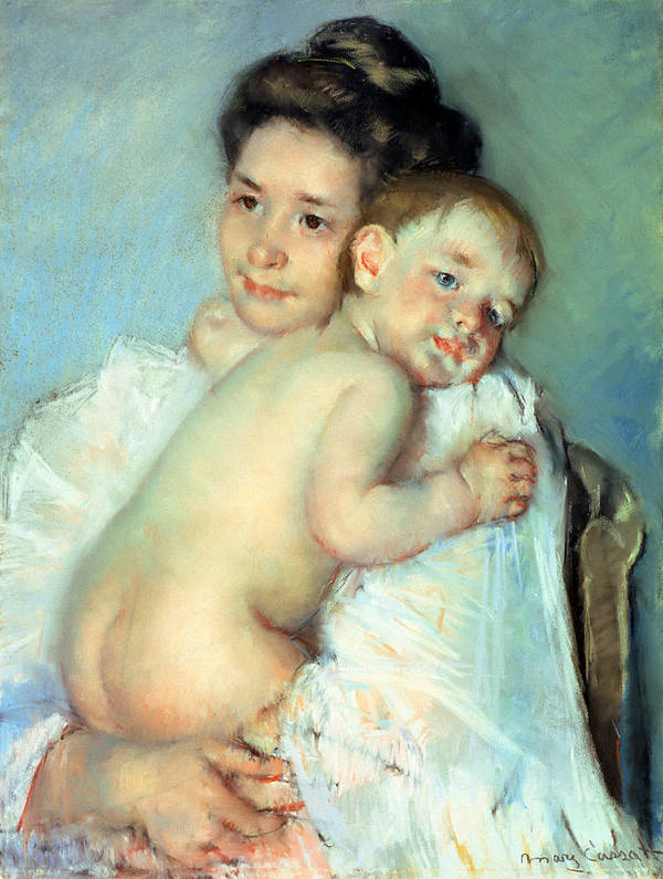The Art Print featuring the painting The Young Mother by Mary Stevenson Cassatt