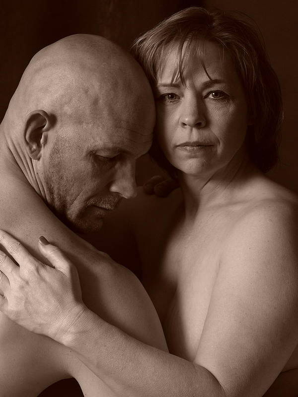 Male;female;man;woman;spouse;husband;wife;couple;nude;skin;black;white;portrait;stare;eyes;deep;depth;thought;pain;sadness;hurt;hopeless;lover;embrace;hold;touch;emotion;captivating;bald;middle-aged;forties;mature;older;adult;contemplate Art Print featuring the photograph Thoughtful by Robert Gebbie