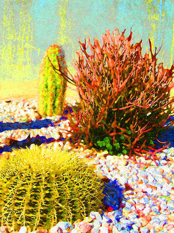 Landscape Art Print featuring the painting Three Cacti by Amy Vangsgard