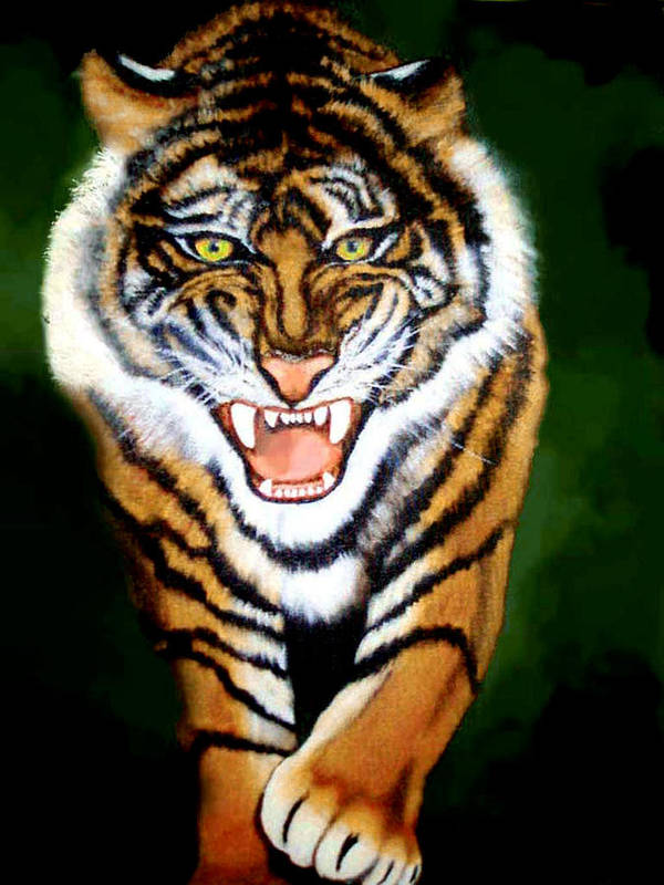 Tiger Art Print featuring the painting Tiger Charging by Darlene Green