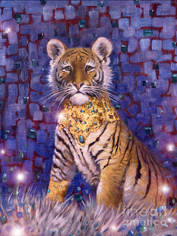 Young Tiger Art Print featuring the painting Tiger Royal by Silvia Duran