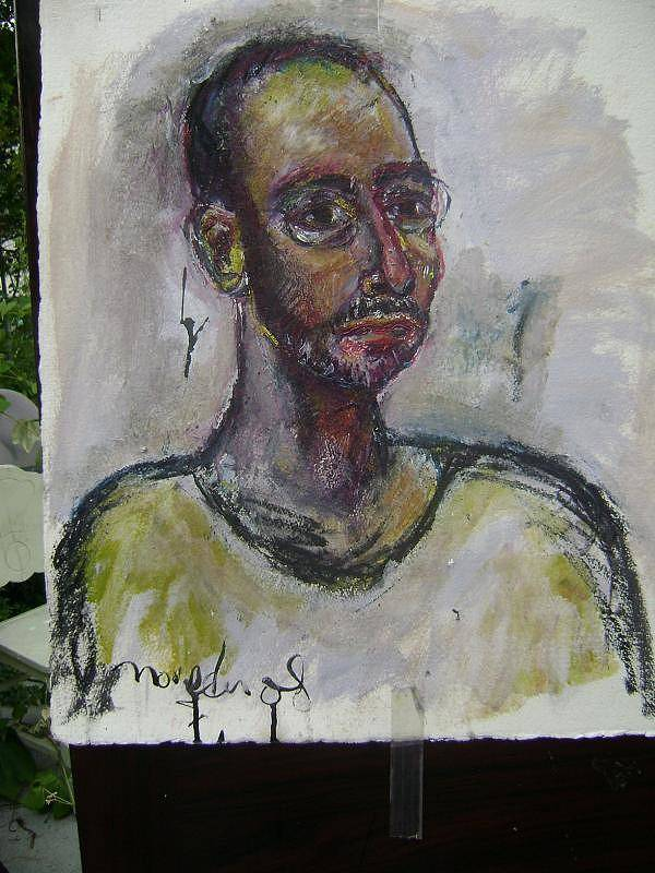Self Portrait Art Print featuring the painting Time And Again by Noredin Morgan