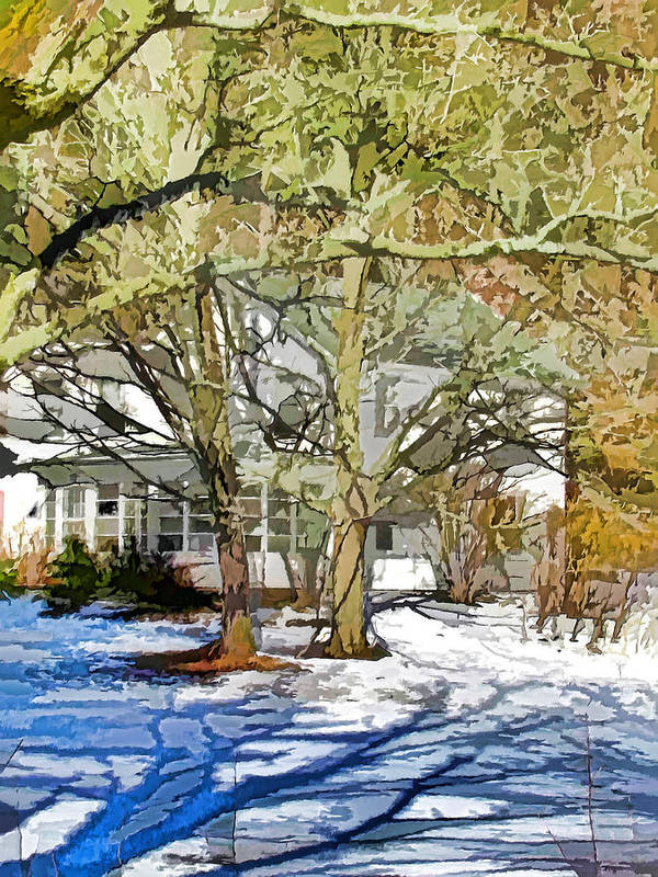 American Art Print featuring the painting Traditional American Home In Winter by Lanjee Chee