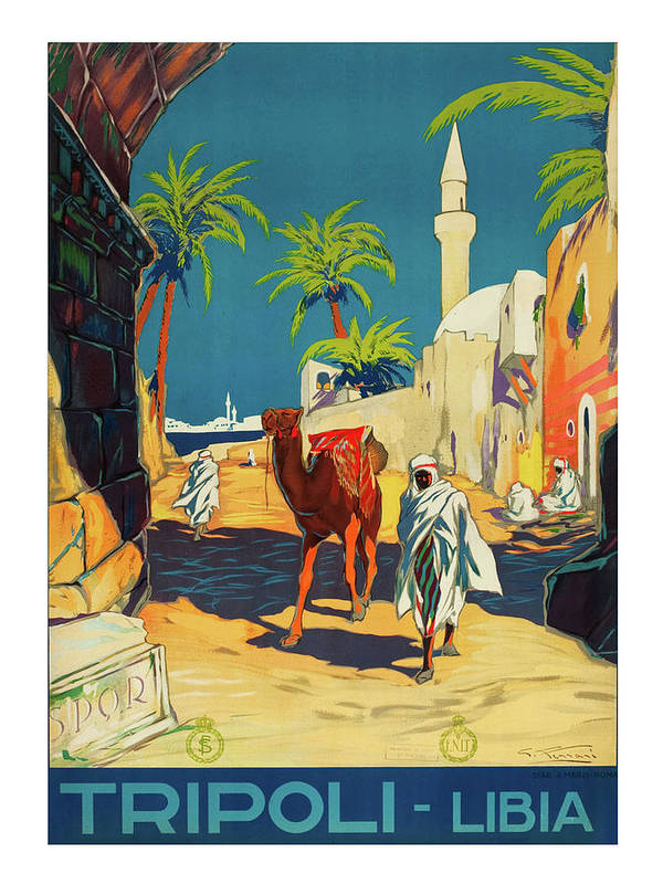 Tripoli Art Print featuring the painting Tripoli, Libya, City, Baudouin With His Camel by Long Shot