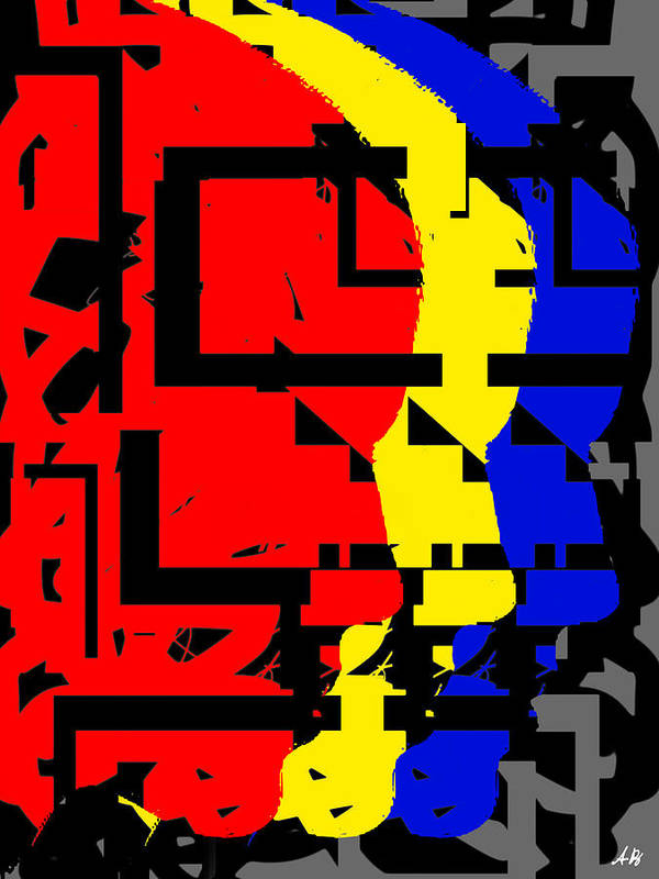Red Art Print featuring the digital art True Colors Right by Armando Perez