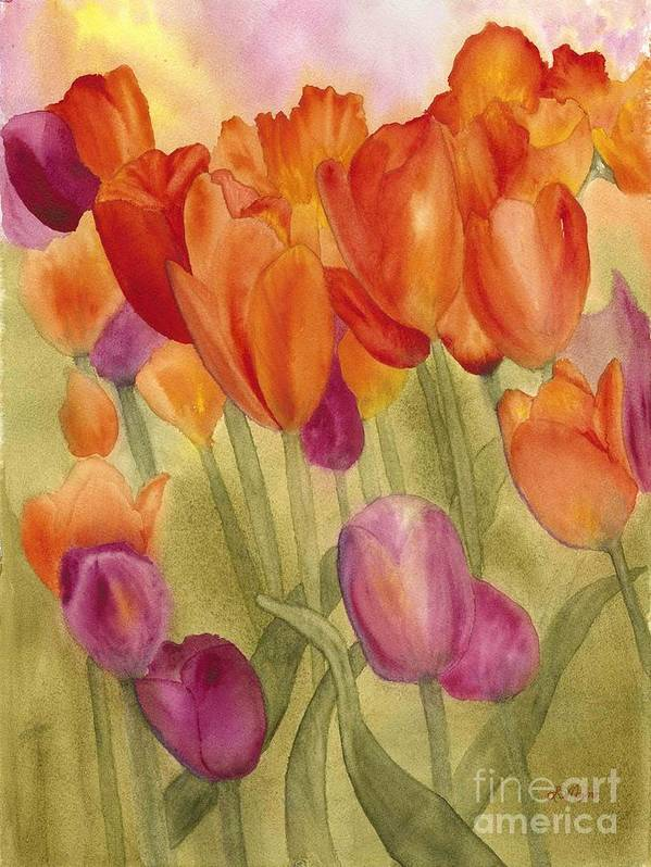 Tulips Art Print featuring the painting Tulip Glory by Louise Magno