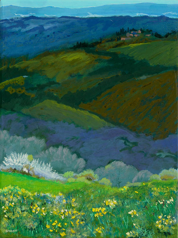 Landscape Art Print featuring the painting Tuscan Vista by Robert Bissett