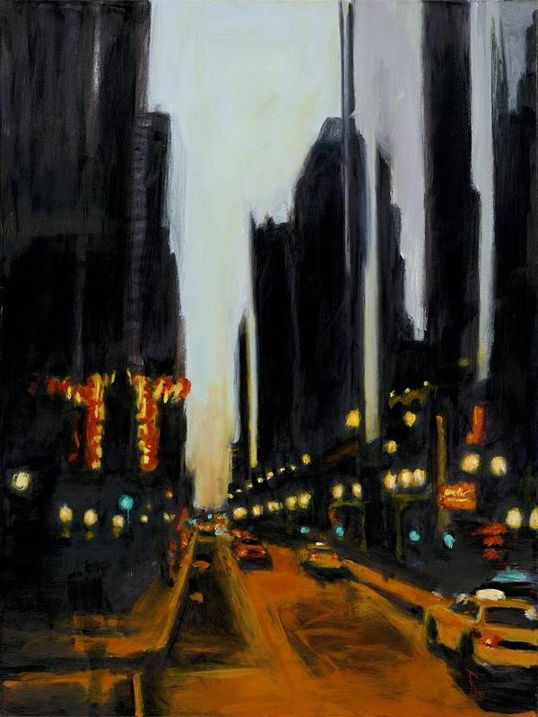 Rob Reeves Art Print featuring the painting Twilight In Chicago by Robert Reeves