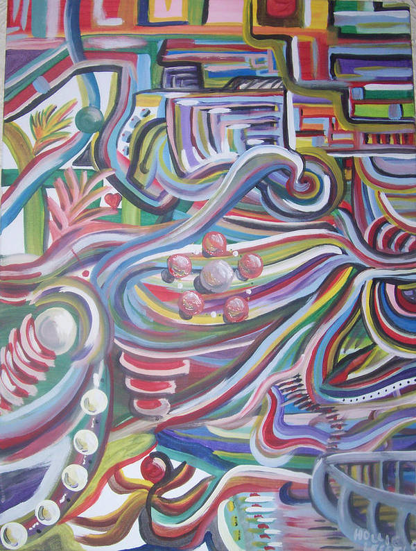 Abstract Art Print featuring the painting Twisted by Hollie Leffel