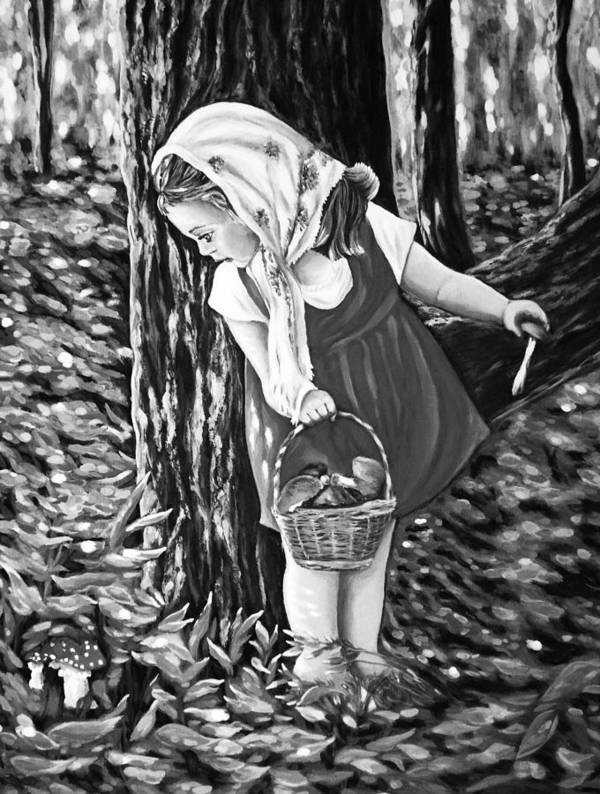 Black And White Art Print featuring the digital art Unexpected Find Black And White by Katreen Queen