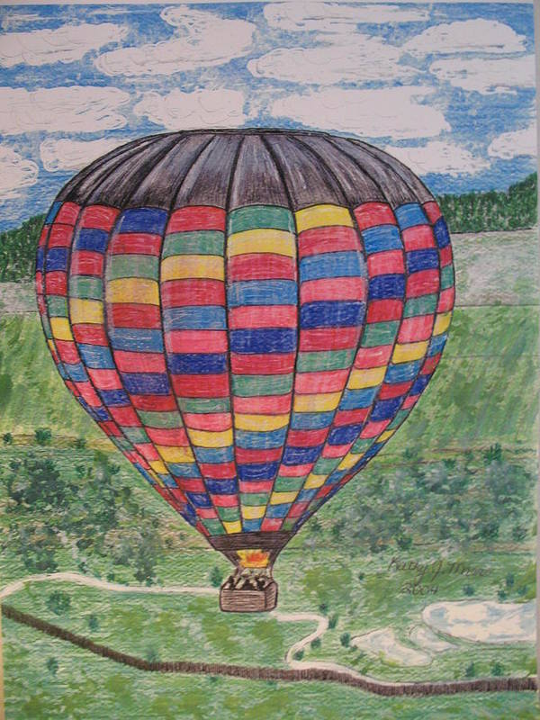 Balloon Ride Art Print featuring the painting Up Up And Away by Kathy Marrs Chandler