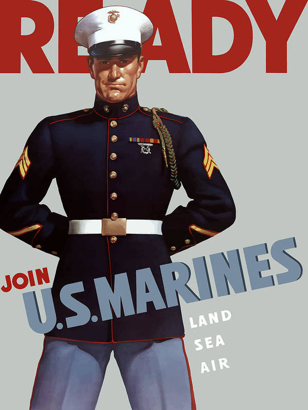 Marine Recruiting Art Print featuring the painting Us Marines - Ready by War Is Hell Store