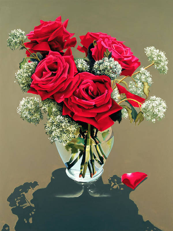 Flower Art Print featuring the painting Valentine Roses by Ora Sorensen