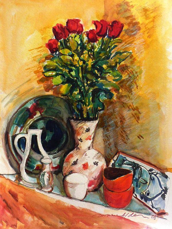 Floral Art Print featuring the painting Valentine's Day Bouquet by Doranne Alden