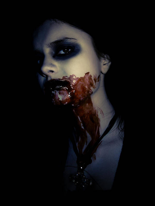 Vampire Art Print featuring the photograph Vampire Feed by Kelly Jade King