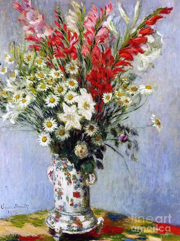 Vase Of Flowers Art Print featuring the painting Vase Of Flowers by Claude Monet